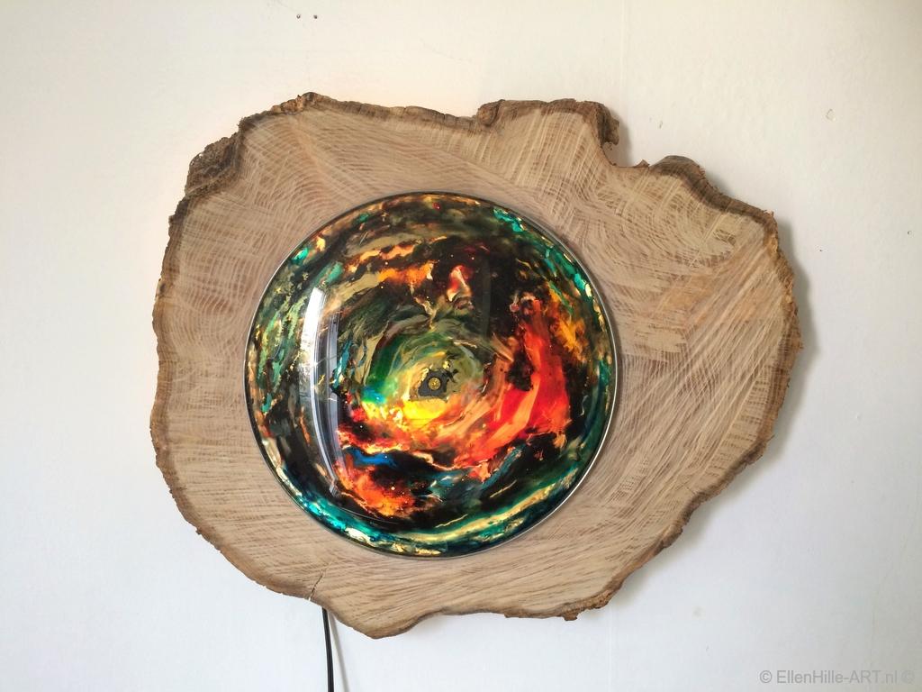 Muurlamp glas en hout