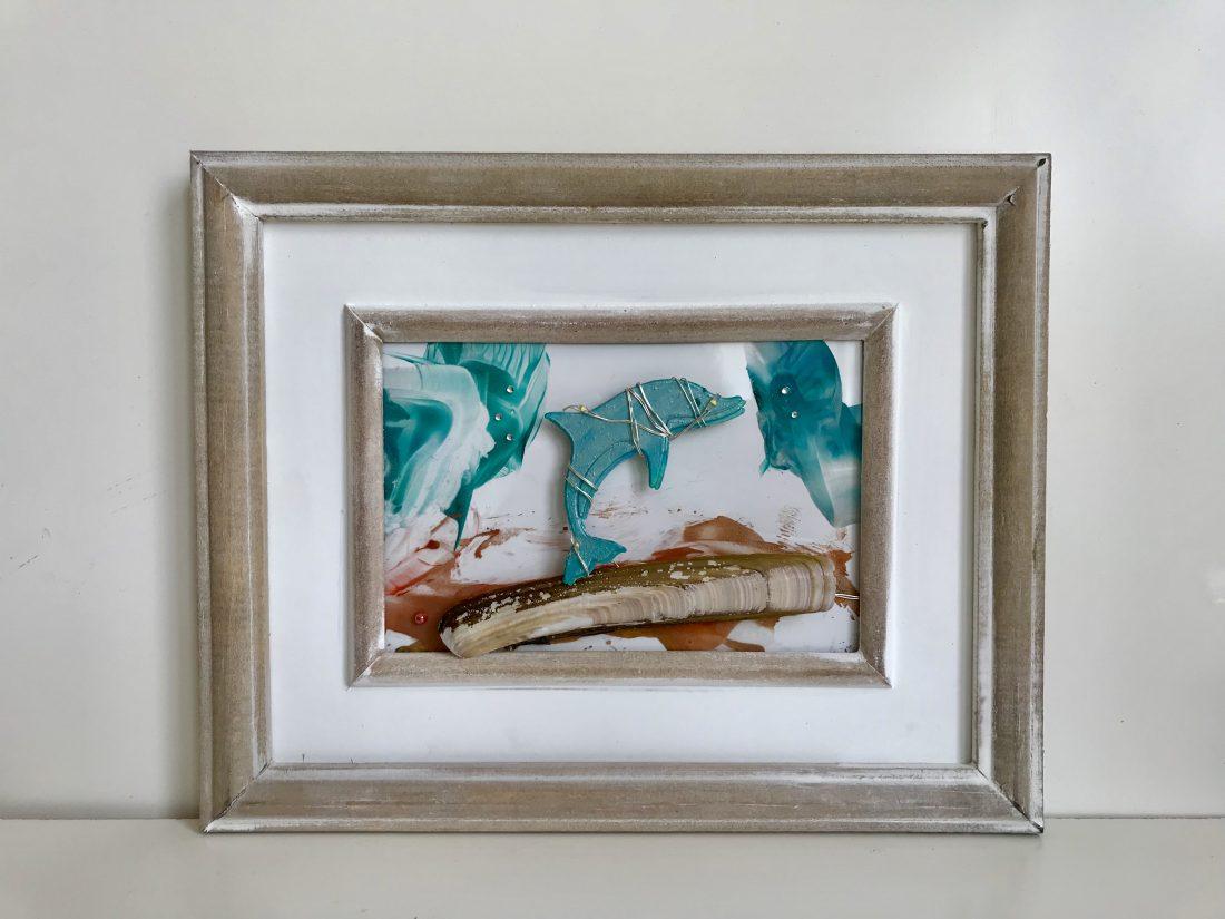 Dolfijnenschilderij met verlichting