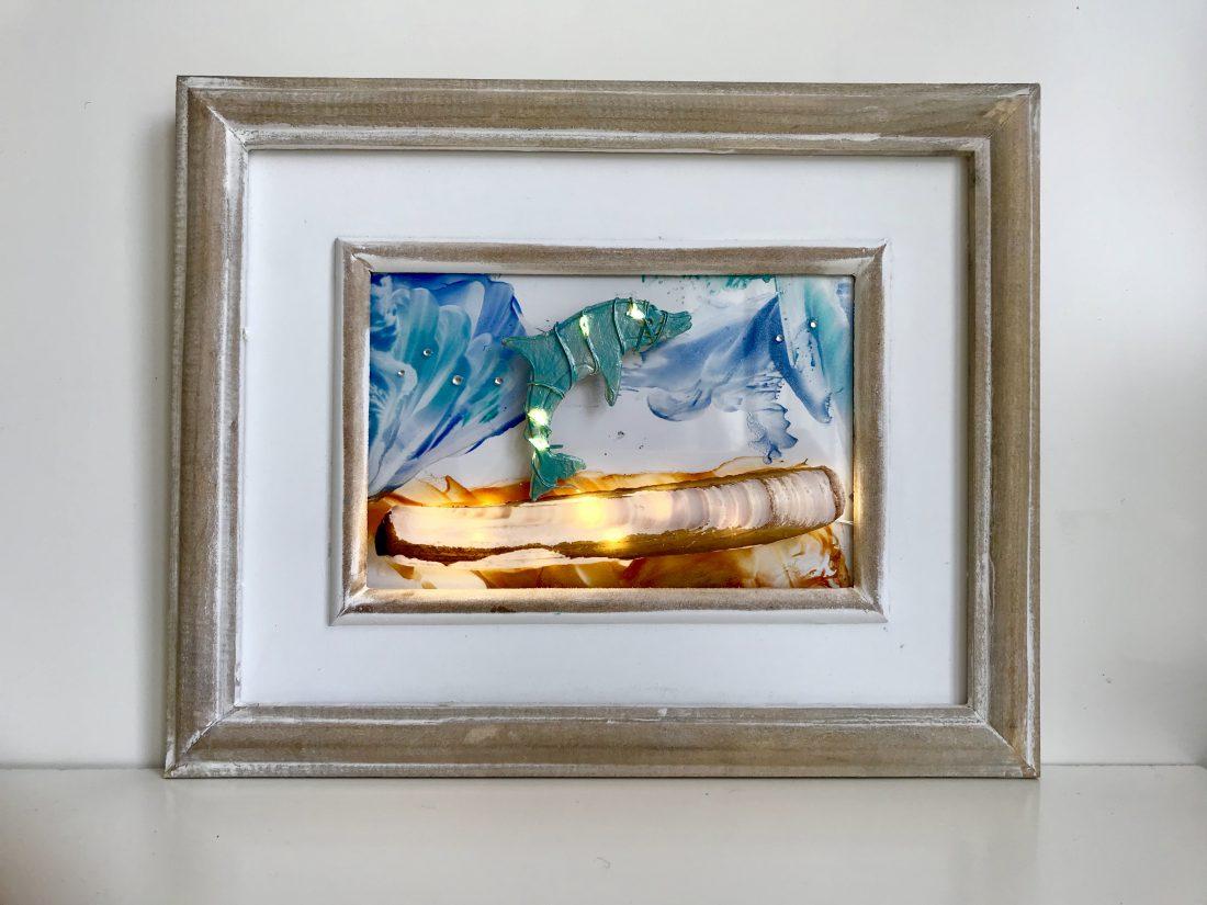 Dolfijnenschilderij met schelp