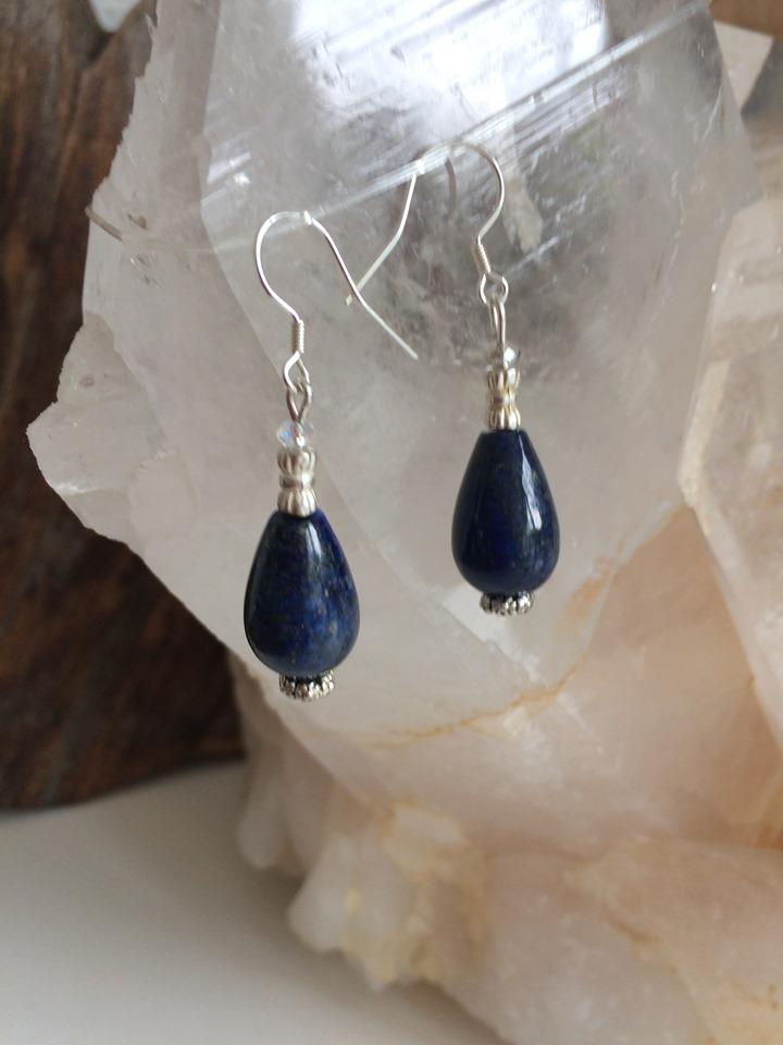 Oorbellen, Lapis lazuli en zilver