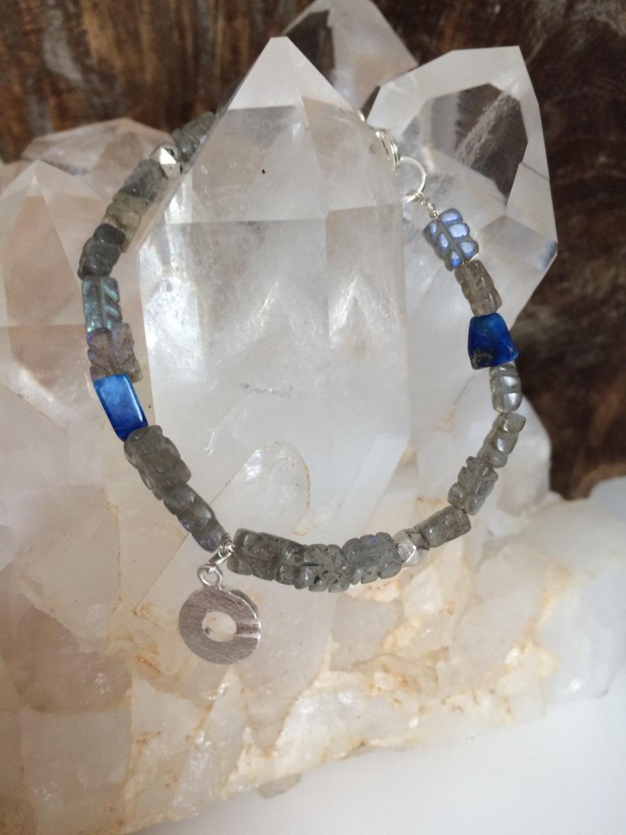 Armband, Labradoriet met lapis lazuli